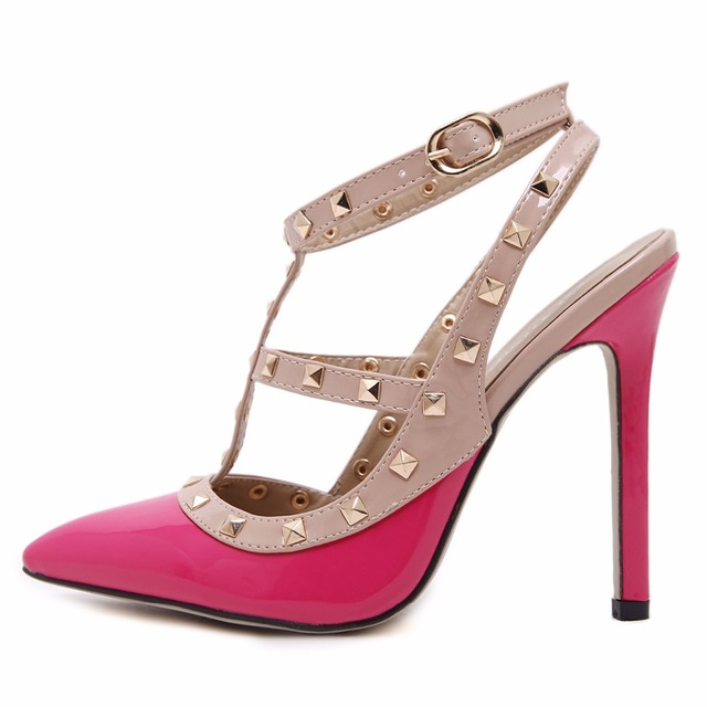 GUMANDUO New women pumps summer fashion sexy rivets pointed toe wedding party high heeled shoes woman sandals size 35-41