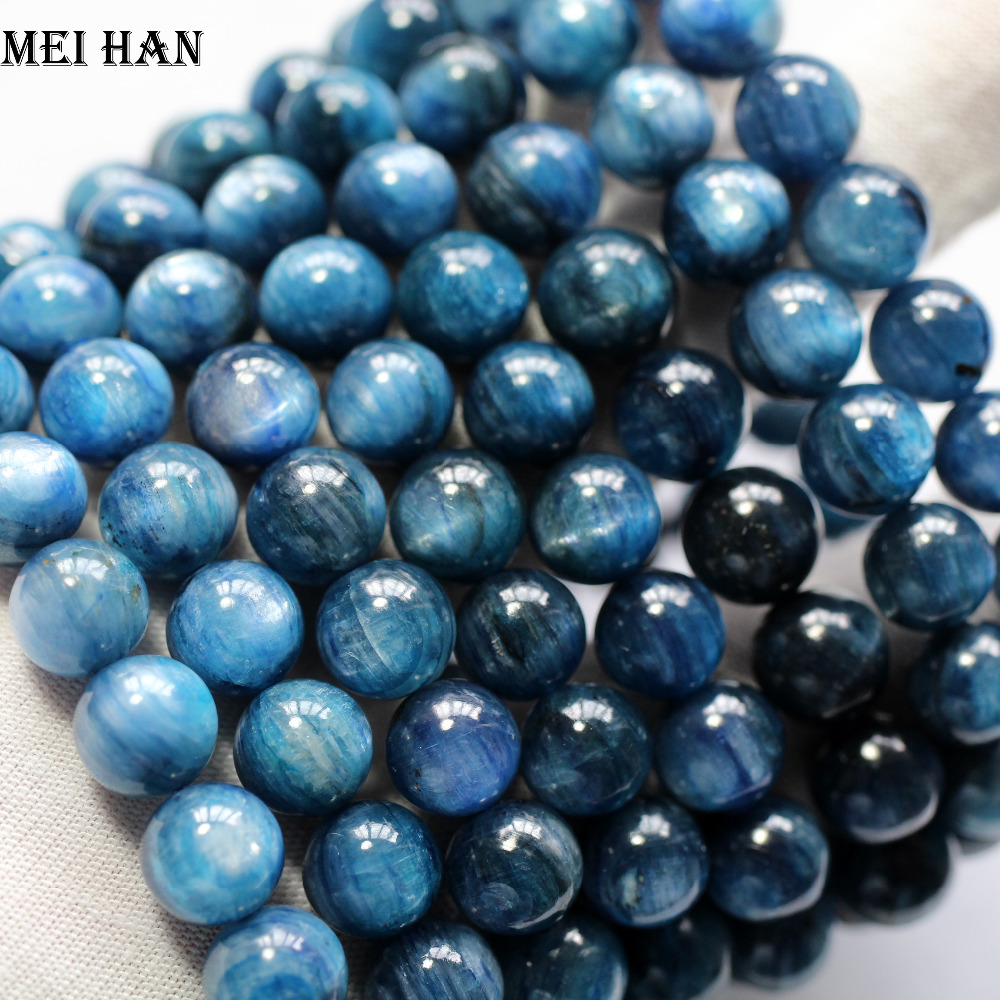Meihan Free shipping 40beads set 64g 9 3 9 8mm blue kyanite smooth round stone for