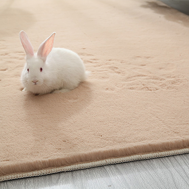 High-Quality Faux Rabbit Fur Carpets Luxurious Home Decor Rugs Luxury Bedroom Thick Long Fluffy Mat Artificial Textile Area Rug