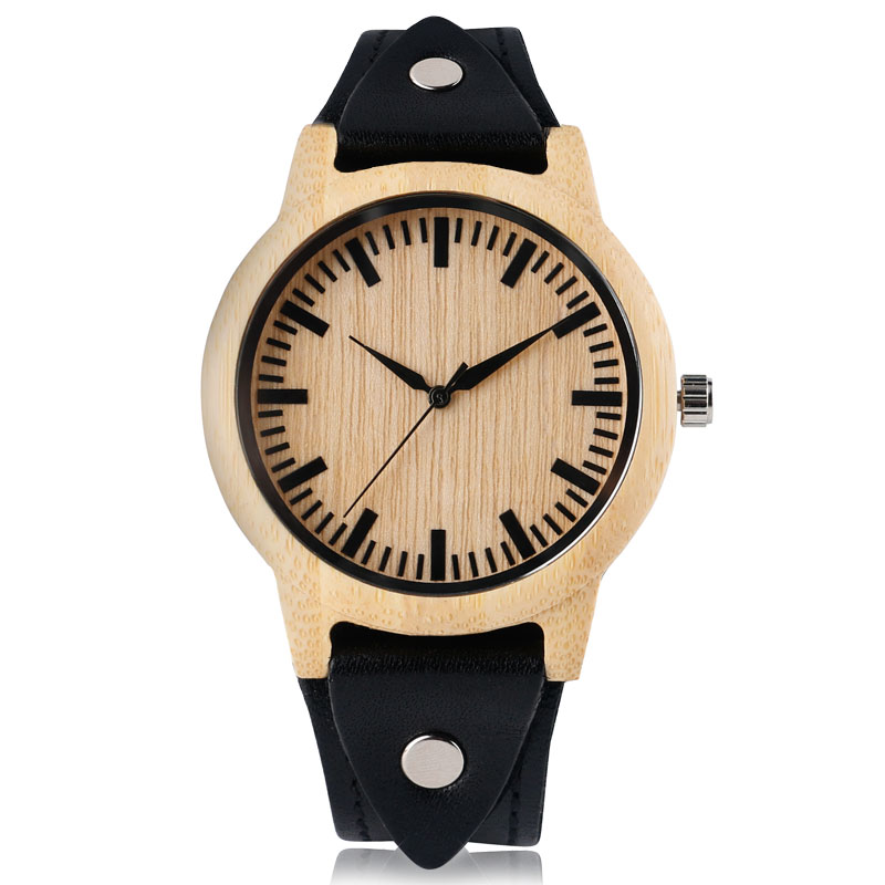 Fashion Cool Punk Rock Design Men Quartz Wooden Watch Modern Black Genuine Leather Watchband Unique Wood Watches Gift for Male hand made mens wooden bamboo quartz watch black genuine leather watchband simple unique modern wristwatch gift for male female