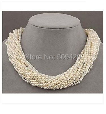 Free Shipping >>>>12 strands akoya white seed pearl twisted necklace 18Free Shipping >>>>12 strands akoya white seed pearl twisted necklace 18