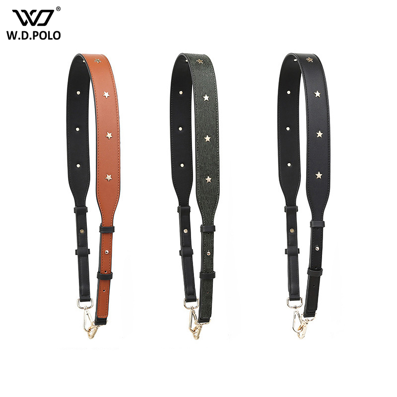 WDPOLO Fashion Pu Leather Handbag Strap With Rivet Adjust Bags Parts Chic Bag Necessary Women Shoulder Bag Belts C539