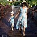 Семейные сопоставления смотреть ourfits Отдых Праздник платье шифон юбки мать дочь матч одежда Леди Девушки летний пляж платья