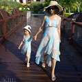 Family matching look ourfits Vacation Holiday dress chiffon skirts mother daughter match clothes Lady Girls summer beach dresses