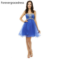 Forevergracedress 2017 Cheap In Stock Pretty Short Prom Dress Blue A Line Sweetheart Formal Homecoming Party
