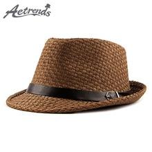 [AETRENDS] Summer Jazz Cap Beach Straw Fedora Hats for Men Fedoras Panama Hat Z-6491