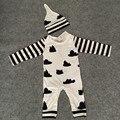 Bebê roupas de outono 100% de Algodão do bebê Recém-nascido Meninos Macacão + chapéu 2 pcs Romper Do Bebê Do Bebê Meninas Manga Longa Roupas roupas de bebe