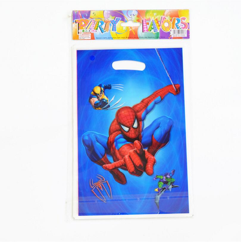 20pcs/lot Spiderman Theme Party Gift Bag Party Decoration Plastic Candy Bag Loot Bag For Kids Festival Party Supplies