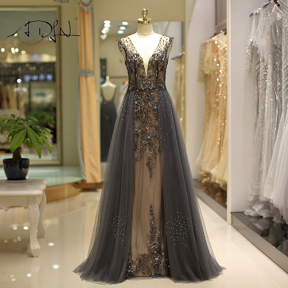 ADLN Deep V-neck   Evening     Dresses   Handmade Heavily Beaded Tulle A-line Formal Party Gown Backless Robe de Soiree 2019