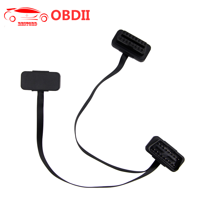(30pcs/lot) OBD2 Flat Splitter Cable For ELM327 16pin Male To Dual Female Thin As Noodles Y Splitter Elbow Extension Connector-in Car Diagnostic Cables & Connectors from Automobiles & Motorcycles on