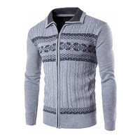 Gresanhevic New Mens Open Front Ribbed Cable Zipper Cardigan Knit Sweater