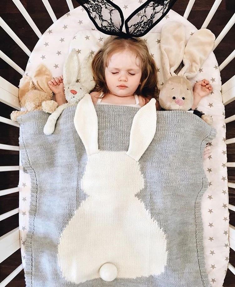 Catoon Rabbit Blanket 75x105cm Cotton Blanket Throw on Sofa/Bed/Plane Travel Plaids Hot Soft Comfortable Blanket