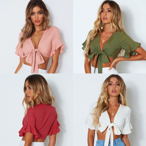 2018 New Fashion Hot Sexy Women Casual   Tank   Crop   Tops   Vest Bow Deep V Neck Butterfly Sleeve   Tank     Top