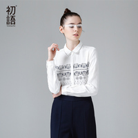 Toyouth 2015 Women Preppy Style Long Sleeve Blouses 100 Cotton Print Loose Blouse
