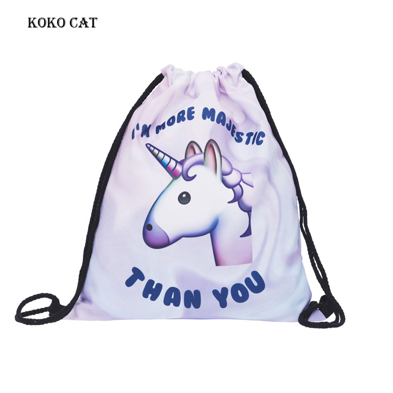 Beach Funny Bag Cute Unicorn Cartoon Dog Printing Drawstring Pocket LadiesTraining Canvas Small Backpack Women Shopping Pocket