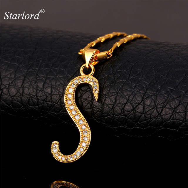 7854abbf7117 Online Shop Starlord Initial S Letter Pendants Necklaces Women Men Gift  Cubic Zirconia Alphabet Jewelry Gold Color Necklace P1689