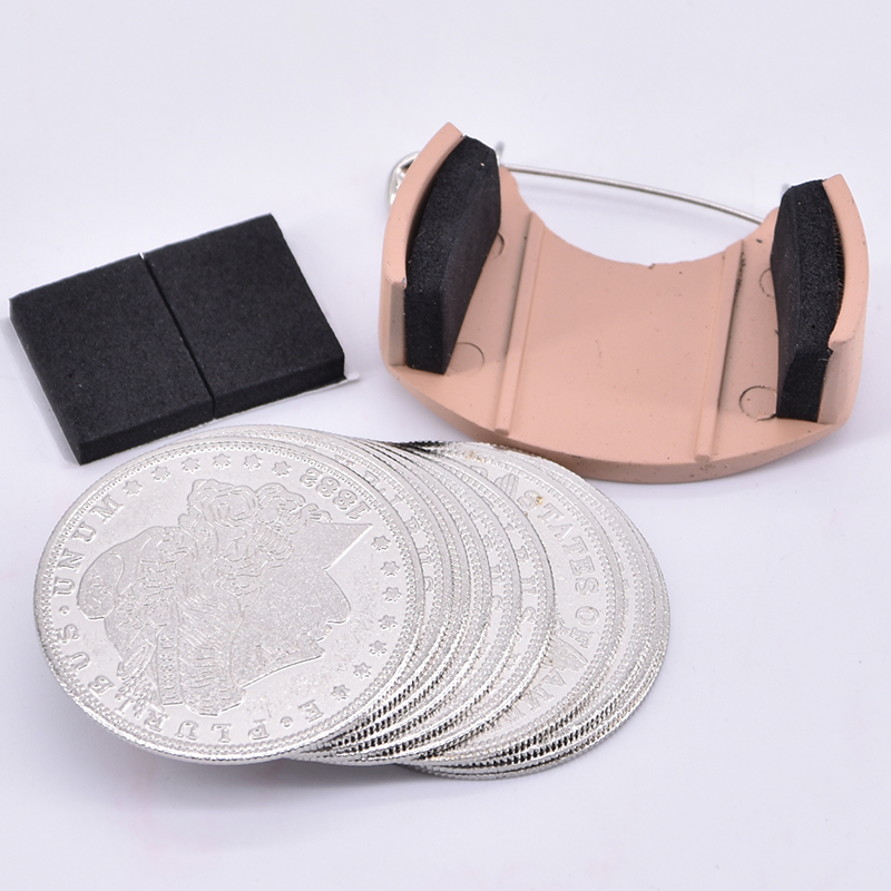 Coin Dumper + 10pcs Palming Coins(Morgan Version) Magic Tricks Appearing/Disappearing Stage Accessories Illusion Props Gimmick