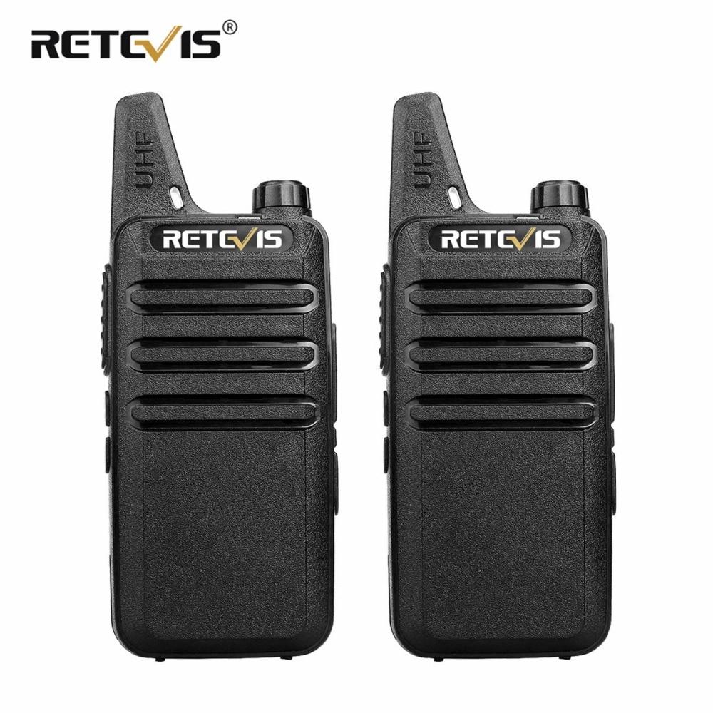 2 piezas Mini Walkie Talkie Retevis RT22 2 W UHF VOX USB de carga de mano Radio de dos vías de la estación de Radio de jamón transceptor Hf comunicador