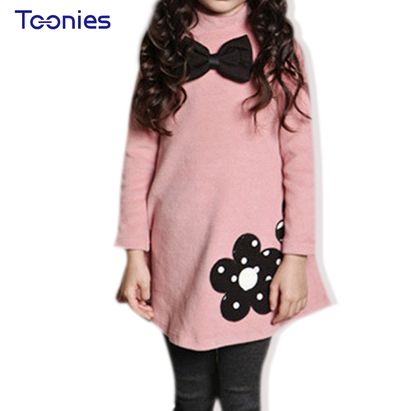 Thickening Winter Girl Dress Princess Girls Dresses Flower Embroidered Clothing Bow Toddler Party Costumes Cute Vestido for Kids