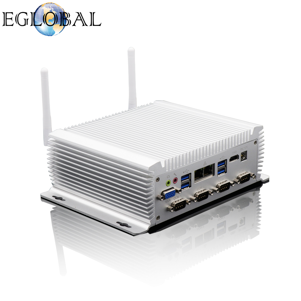 EGLOBAL Industrial Fanless Mini PC I7 4500U I5 Windows 10 Pro Linux 2*Intel Lans 6*RS232/485 HDMI VGA 8*USB WiFi Watch Dog 3G/4G