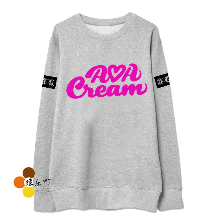 Kpop aoa cream printing o neck thin sweatshirt fashion aoa new ep hoodies fans supportive moleton women sweatshirts