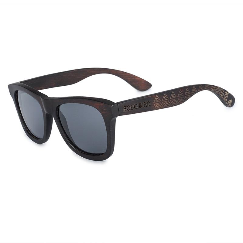 BOBO BIRD Retro Ebony Wooden Sunglasses With Grey Polarized Lens And Fashion Design Laser On Wooden Frame Dropshipping OEM DG08a