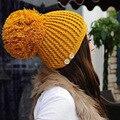 MUJERES Color Sólido Mantón Sombreros de Invierno de la Señora Sólida Cortina de Color Caps 7 Colores de Punto Headwears Grandes Moda Plus Bola de Pom sombrero