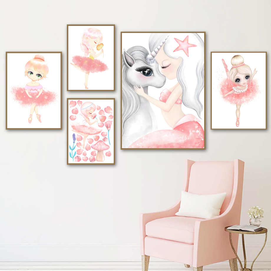 Cartoon Ballet Girl Unicorn Mermaid Wall Art Canvas Painting Nordic Posters And Prints Watercolor Wall Pictures Kids Room Decor