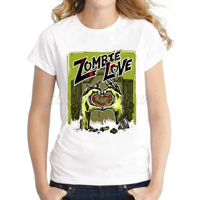 ab0a8ab9990 2018 nuevas llegadas Zombie diseño de la historieta de las mujeres camiseta  impresa cráneo punk estilo