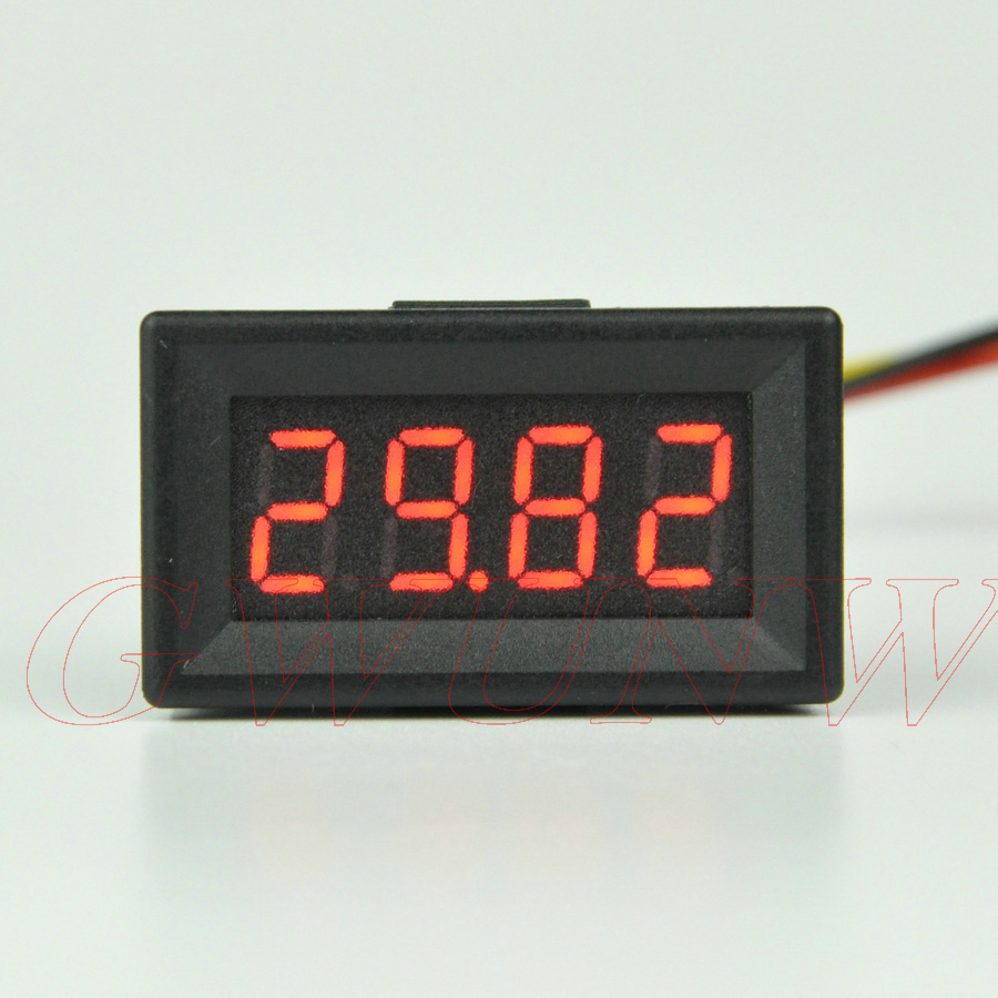 GWUNW BY436V DC 0-30.00V (30V)Voltage Tester 4 bit 0.36inch digital voltmeter Panel Meter red blue green yellow gwunw by456v dc 0 30 00v 30v 4 bit digital voltmeter panel meter red blue green 0 56 inch voltage tester meter