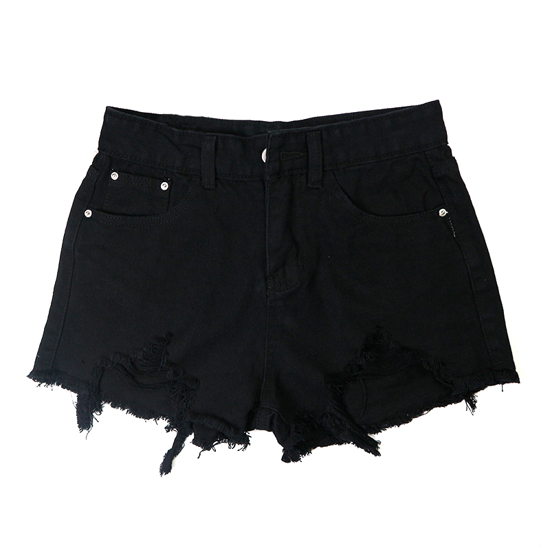 Aliexpress.com : Buy Women Black Denim Short Fashion Torn Ripped ...
