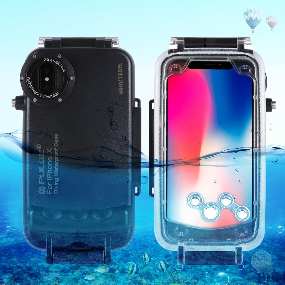 PULUZ For iPhone 8 8 Plus 7 7 Plus X XS 40m 130ft Waterproof Diving Housing