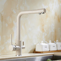 Free Shipping Luxury White Fliter Kitchen Sink Faucet With Dual Handle Solid Brass Kitchen Sink Water