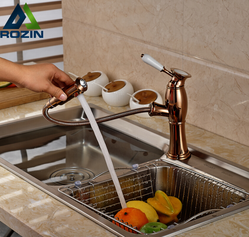 2016 Elegant Rose Golden Kitchen Sink Faucet Single Handle Single Hole Pull Out  Mixer Taps swanstone dual mount composite 33x22x10 1 hole single bowl kitchen sink in tahiti ivory tahiti ivory