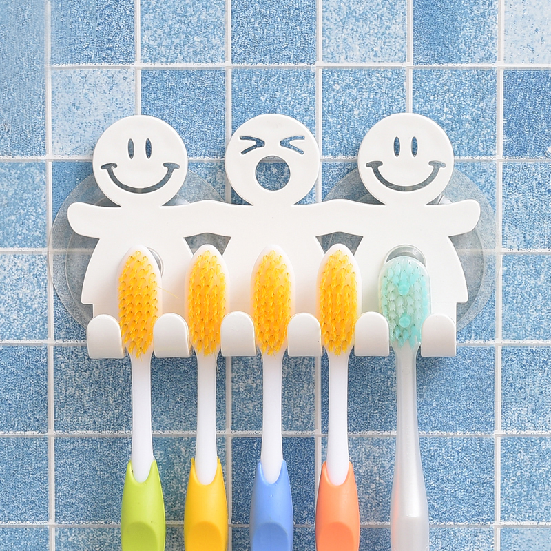 Bathroom Suction 5 Position Toothbrush Holder Rack Wall Mount Funny Smiling Face Toothbrush Stand Organizer image