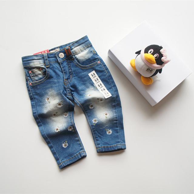 Novo 2016 calças jeans moda jeans crianças calças de brim Flor meninas do bebê grils jeans menina infantis para 6-24 m Freeshipping menina