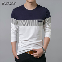 E BAIHUI 2019 Men T Shirt Spring Autumn New Long Sleeve O Neck T Shirt Men Brand Clothing Fashion Patchwork Cotton Tee Tops G059