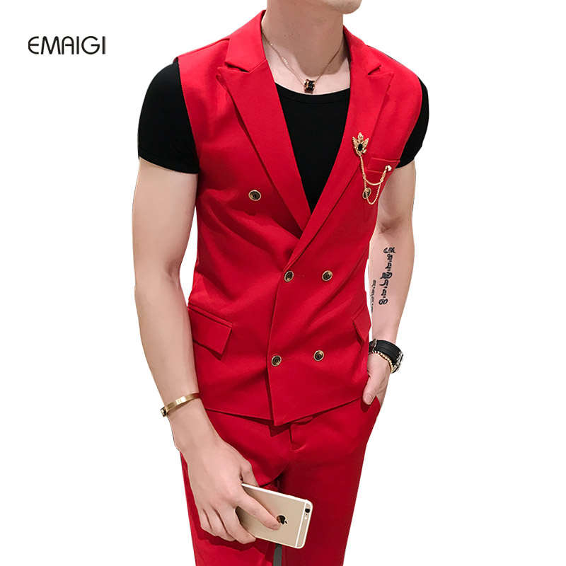 4 Colors (vest+trouser) 2 Pieces Men Double Breasted Casual Suit Vest Male Fashion Slim Fit Blazer Vest Stage Costume Uniform