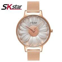 2017 SKstar Marque De Luxe Or Rose Femmes Montres Dames Quartz Analogique Horloge Fille Casual Montre Femmes Bracelet En Acier Montre-Bracelet