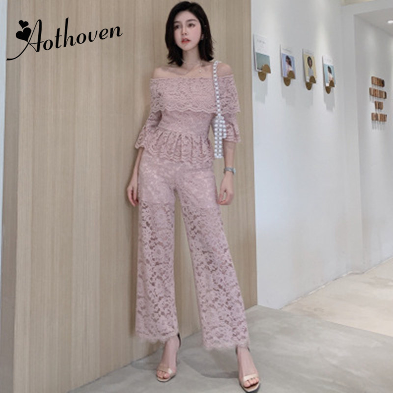 OL Office Ladies 2 Pieces Set Women Suit Ruffles Flare Sleeve Slash Neck Top And Bell-bottom Pants Elegant Lace Two Piece Set