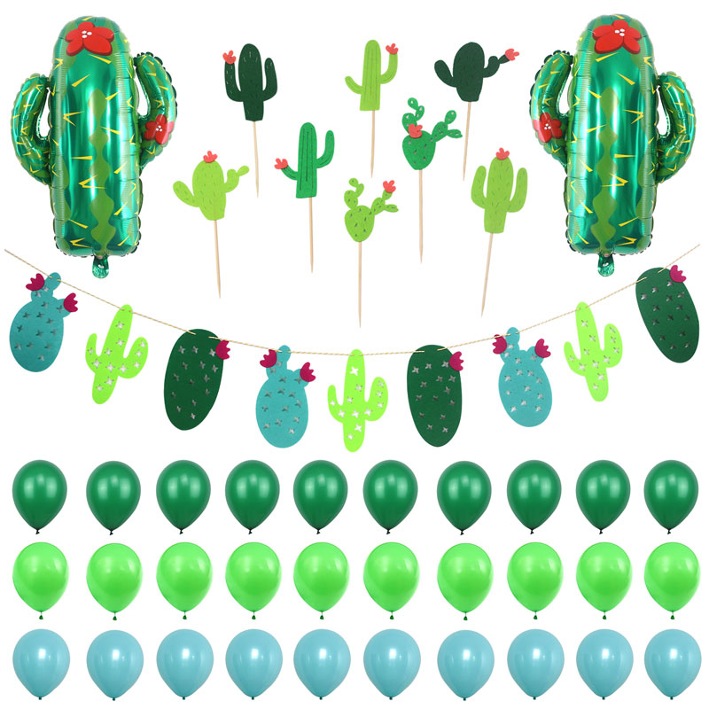 Cactus Tree Theme Foil Balloons Baby Shower Felt Bunting Banners Succulent Cactus Bloom Party Decoration
