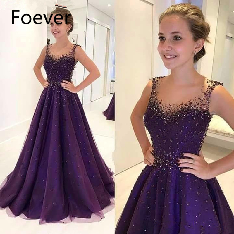 Saudi Arabic Purple Evening Dresses 2019 A line Tulle Beaded Elegant Islamic Dubai Long Evening Gown
