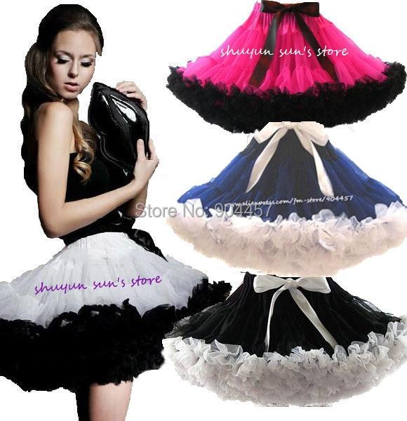 Adult Teen Fluffy Pettiskirt Womens 2 Color Patchwork Party Dance TuTu Skirts Black White Women Tutus Skirt Summer