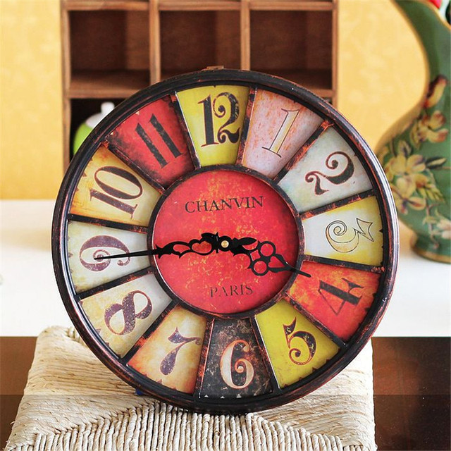 2017 New Design  Wall Decoration Wall Clocks Antique Vintage Home Kitchen Room Watch Time Clock Metal Wall Clock Figurine