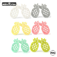 10pcs Summer Tropics Pineapple Baby Teether BPA Free Food Grade Silicone Material Health Baby Chewed Teether For Baby Teething