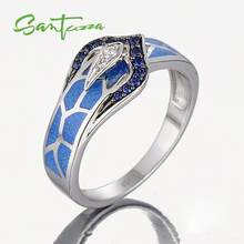 Silver Snake Ring for Women Blue Stone Blue HANDMADE Enamel Rings Pure 925 Sterling Silver Fashion Jewelry(China)