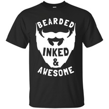 T-Shirt 2018 Fashion Men Fashion Design Free Shipping Bearded Inked And Awesome T-Shirt Beard Tattoo Men Unisex Tee Men