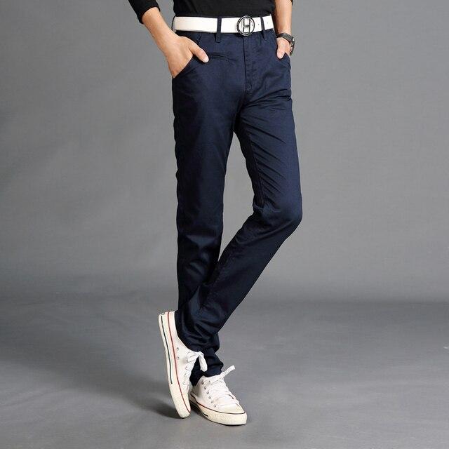 2016 мода новые мужские случайные штаны твердые все-матч многоцветный прямой тонкий khaki бегунов фитнес pantalon homme