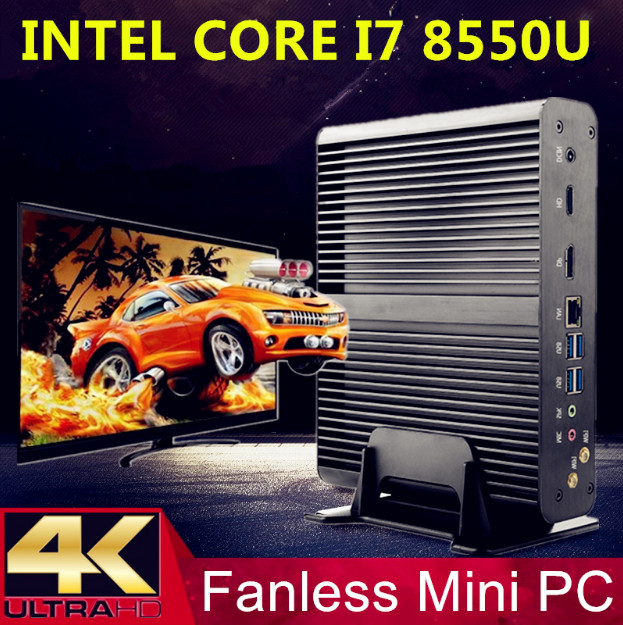 Eglobal Newest <font><b>Fanless</b></font> Mini PC with 8th Gen CPU i7 <font><b>8550U</b></font> Quad Core Mini Computer Plus DP HDMI SD windows HTPC Nettop 8MB Cache image