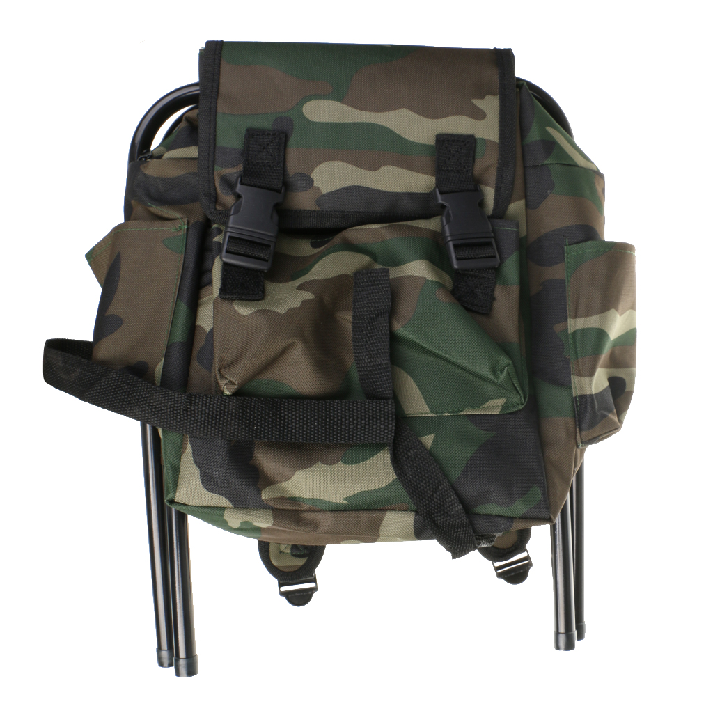 1PCS Hunting Fishing Tackle Oxford Backpack Bag Foldable Stool Seat Chair Camo for Hiking Travel Camping Equipment Accessories